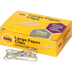Marbig Paper Clips Small 28mm Chrome Box Of 100
